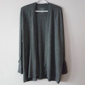 🆕️AEO Green Open Front Plush Cardigan